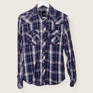 Jack & Jones Plaid Pearl Snap Button Western Shirt